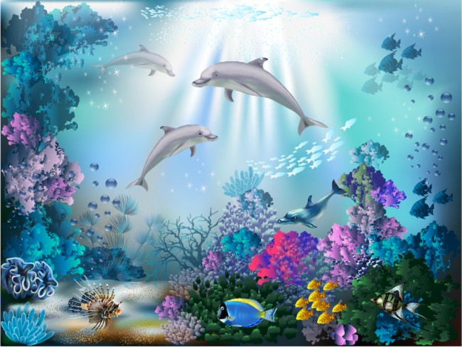 Dolphin Wall Mural Under The Sea Wallpaper Girls Bedroom Photo Home Decor