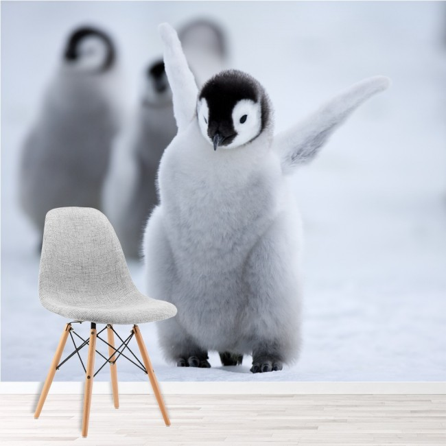 Baby penguin wall mural cute animal wallpaper childrens for Baby mural wallpaper