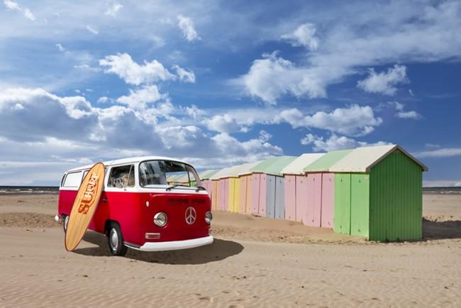 Red campervan wall mural beach surf huts wallpaper bedroom for Campervan wall mural