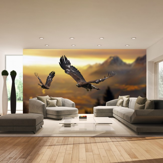 Mountain Landscape Wall Mural Eagle Wallpaper Living Room Bedroom