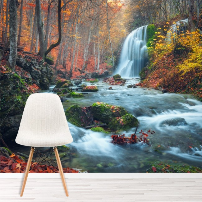 Waterfall River Wall Mural Autumn Forest Wallpaper Living Bedroom ...