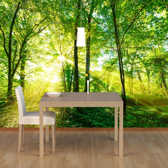 Ordinaire Green Trees Wall Mural Forest Nature Wallpaper Living Room Bedroom Photo  Decor