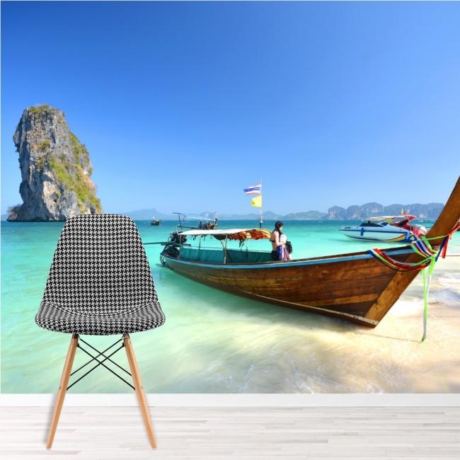 Boat On Tropical Paradise Wall Mural Beach Wallpaper Travel Photo