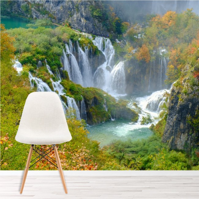 Croatia Waterfall Wall Mural Green Landscape Wallpaper