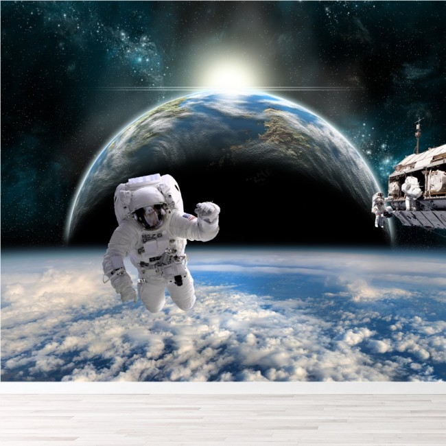 Astronaut space wall mural planet earth wallpaper boys for Astronaut wall mural