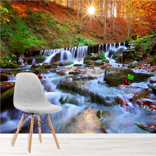 Autumn Forest Wall Mural River Landscape Wallpaper Bedroom Photo