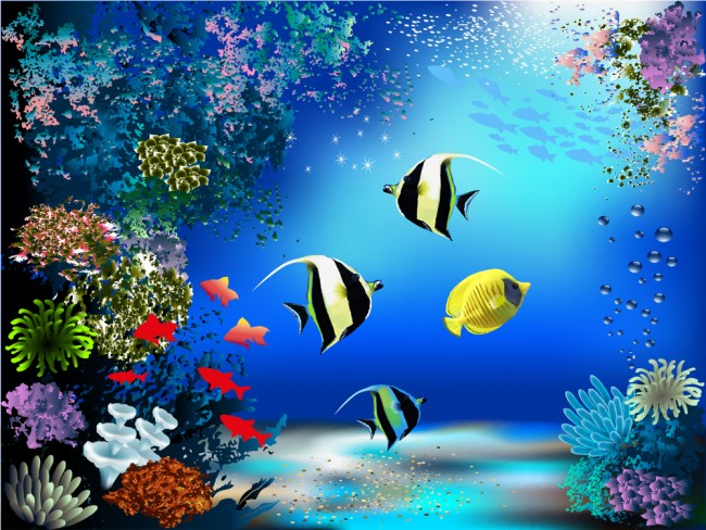 Coral Reef Fish In Blue Ocean Wallpaper Wall Mural
