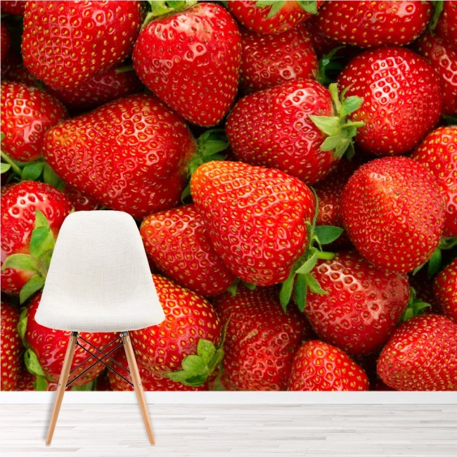 Red Strawberry Wallpaper Wall Mural