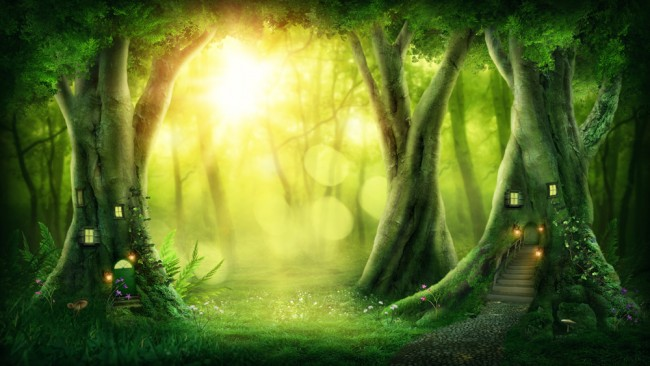 Enchanted Fairy Forest Green Trees Wallpaper Wall Mural