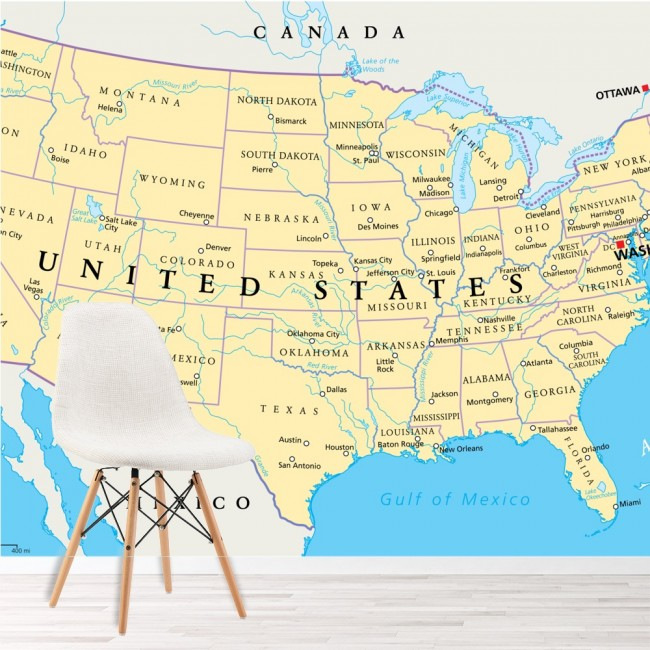 Map Of America 52 States.United States Of America Map Wallpaper Wall Mural