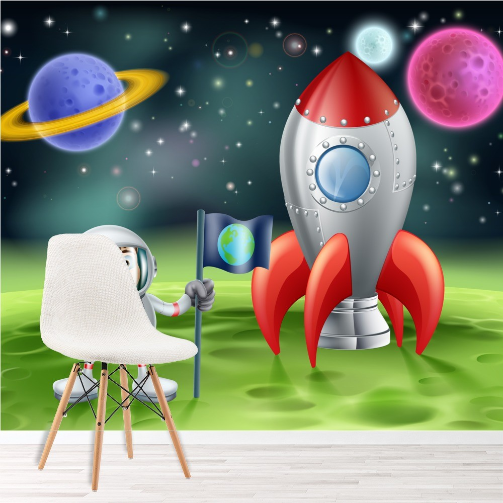 Astronaut rocketship wall mural space wallpaper boys for Astronaut wall mural