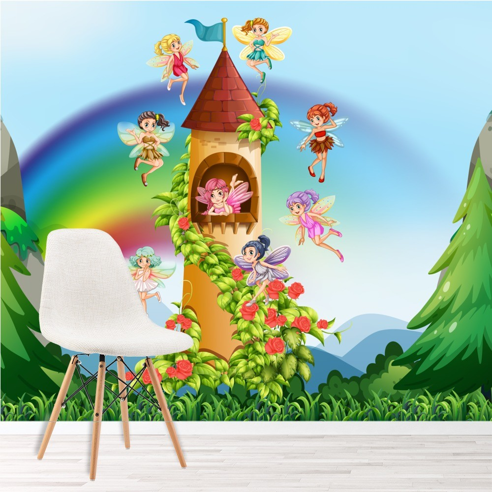 Fairy castle wall mural fairytale wallpaper girls bedroom for Fairy castle mural