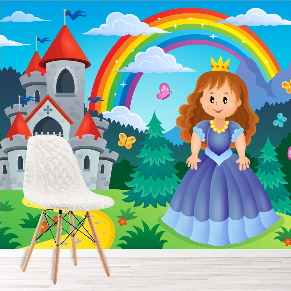Princess castle wall mural fairytale wallpaper girls for Castle mural wallpaper